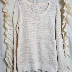 Lou & Grey cream knit sweater textured